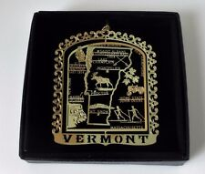 Vermont State Landmarks Brass Ornament Black Leatherette Gift Box