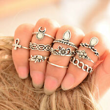 10pcs Tribal Ethnic Hippie Stone Joint Ring Set Women Vintage Punk Knuckle Rings
