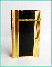 GENUINE S.T. DUPONT LARGE BLACK LACQUER - Gold Plated GAS LIGHTER  JUST SERVICED
