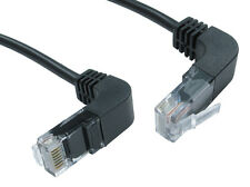 Cat5e RJ45 Network Cable right angle up to down, black ethernet lead 2 Mtr
