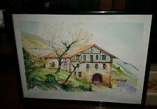 Tableau grande aquarelle Maison Pays Basque