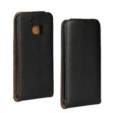 For HTC One M10, HTC 10 Black Genuine Leather Classic Slim Flip Case Cover