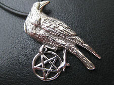 Pentagramm 925'er Silber Anhänger mit Raabe + Echtlederband Gothic / KA 209