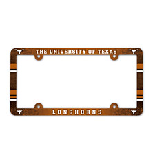TEXAS LONGHORNS COLOR CAR PLASTIC LICENSE PLATE TAG FRAME