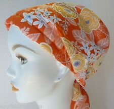 Orange Floral Chemo Cancer Hat Alopecia Hair Loss Scarves Turban Head Wrap Cover