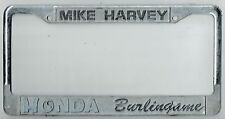 Burlingame California Mike Harvey JDM Honda Vintage Dealer License Plate Frame