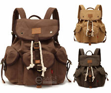 Men/Women's Travel Canvas Backpack Rucksack Sport Satchel School Hiking Bag