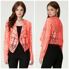 BEBE CORAL CROCHET LACE LONG SLEEVE JACKET NWT NEW $129 XSMALL XS 2