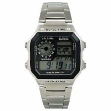 Casio AE-1200WHD-1AV Men's Illuminator Stainless Steel World Time Digital Watch
