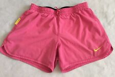 Women's Junior Nike Livestrong Pink Yellow Lined Shorts Size Xs