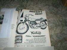 1968 NORTON 750 Commando  Motorcycle ad  1 page original