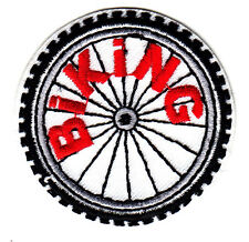 """BIKING"" PATCH- Iron On Embroidered Applique Patch- Sports, Bikers, Cycles"