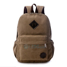 Men Women Canvas Vintage Rucksack Backpack Laptop Shoulder Travel Camping Bag