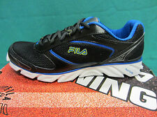 New Fila Ancerus 5 Mens Size 8 Running Athletic Shoes Black/Blue Mesh Upper $68