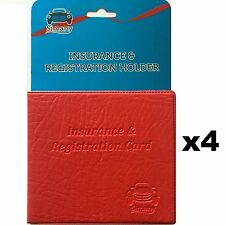 4 Red AUTO CAR TRUCK INSURANCE REGISTRATION ID CARD HOLDER Embossed Faux-Leather