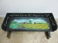 Antique Amish Painted scene signed Buck Board buggy Seat wagon cart Horse Drawn