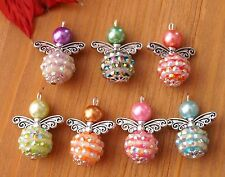 7x shambala style 2 tons mix couleurs ange charme pendentif perles argent ailes