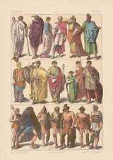 RRömer Gladiatoren Tribun Feldherr LITHOGRAPHIE von 1883 Trachten Toga