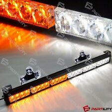"25"" 24 LED White Amber Light Emergency Warning Strobe Flashing Yellow Bar Hazard"