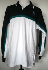 Seattle Mariners White/Blue/Teal Heavy Cotton Knit L/S Rugby Polo Shirt Lee XL