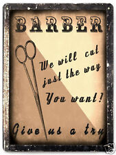 Barber Shop metal sign Antique Style wall decor Hair Stylist display plaque 010