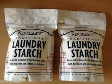 1KG Kershaw's Traditional Laundry Starch Powder 2 x 500g Resealable Pack 2 Packs