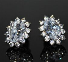 Bridal AAA+ Clear Cubic Zirconia 18K White Gold Plated Stud Earrings UK