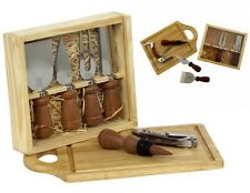 8-pc CHICAGO CUTLERY Rosewood WINE & CHEESE SET Fork Knives Corkscrew Cut Board