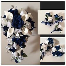 Marine Navy Blue Calla Lily Bridal Bouquet Package Wedding Flower 4 Bridesmaids