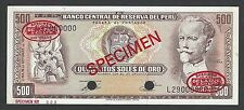 Peru 500 Soles  16-10-1970 P104bs Specimen TDLR N2  About Uncirculated