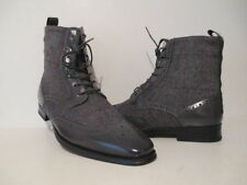 Giovanni Mens 6595 Leather Tweed Wing Tip Dress Casual Ankle Boots Gray/Black 10