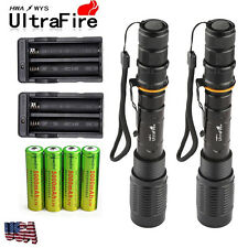 2x 4000LM Ultrafire CREE XM-L T6 LED Flashlight Torch+4x 18650Battery+2X Charger