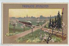 Fröhliche Pfingsten Lok Eisenbahn durch Wiesen Landschaft Präge AK  ungel.