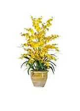 Nearly Natural 1070-YL Triple Dancing Lady Silk Flower Arrangement- Yellow NEW