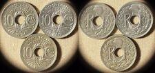 France : 3 Coins 10 Ct 1917(2) CH.AU-UNC;UNC  + 10 Ct 1924 XF #866a  IR2207