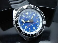 Vintage Seiko divers 7002 Auto MEGA MOD MILITARY BLUE BULLET 150m Watch (H3)