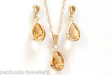 9ct Gold Citrine Teardrop Pendant and Earring Set Boxed Made in UK