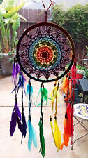 NEW HNDMADE NATIVE AMERICAN DESIGN CROCHET DREAMCATCHER WITH CHAKRA FEATHERS