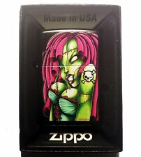 Zippo Custom Lighter Sexy Zombie Hot Babe Chick with Skull Crossbones Tattoo New