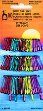 Pony 100 Metallic Coloured Brass Safety Pins Stitch Markers 19-38mm -P85502