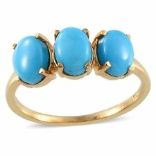 UK M,P,R SLEEPING BEAUTY TURQUOISE 3 stone ring 14K GOLD STERLING SILVER 2.5ct