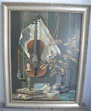 Vtg Music & Memories Violin Still Life Oil Painting Nice Frame Paint By Numbers