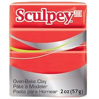 RED HOT RED 2oz BLOCK SCULPEY III POLYMER OVEN BAKE MODELLING MODEL CRAFT CLAY