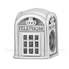 Lovelinks Bead Sterling Silver, English Phone Box Charm In Oxidised Silver TT630