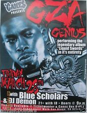 "GZA GENIUS ""LIQUID SWORDS"" 2010 SAN DIEGO CONCERT TOUR POSTER -Wu Tang Clan, Rap"
