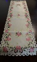 "Embroidered Tablecloth Pink Floral Table Runner 15""x52"" Table Topper Home Decor"