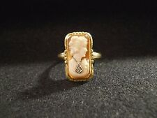 Vintage Cameo Diamond 10K Gold Ring Size 7.5 Good Condition Estate Jewelry