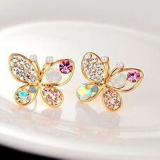 Women's Hollow Butterfly Crystal Pearl Rhinestone Ear Stud Earrings Elegant