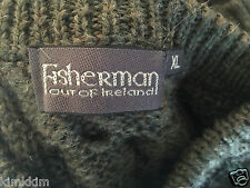 FISHERMAN out of Ireland 100% wool sweater! olive green sweater!  XL