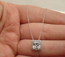 Clear Diamonique Princess Cut CZ Pendant Cable Chain REAL 925 STERLING SILVER